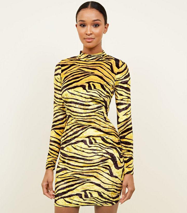 bef16ed4 Carpe Diem Yellow Tiger Print Bodycon Dress | New Look