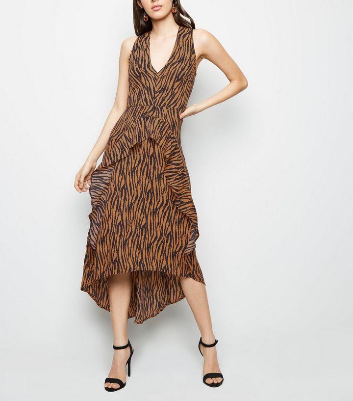 6793e69626 AX Paris Brown Tiger Print Dip Hem Midi Dress