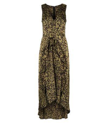 shop for AX Paris Khaki Tiger Print Dip Hem Midi Dress New Look at Shopo