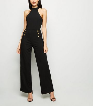 AX Paris Black Button Side Halter Jumpsuit