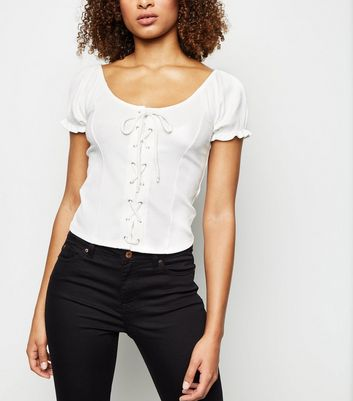 Off White Lattice Front Top