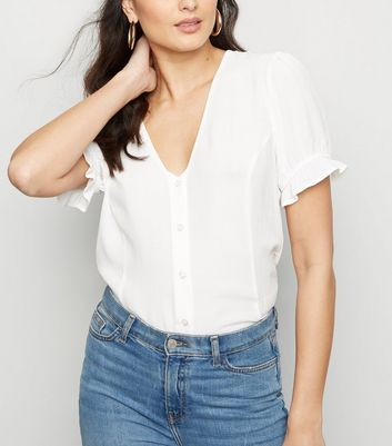 Off White Button Front Puff Sleeve Top