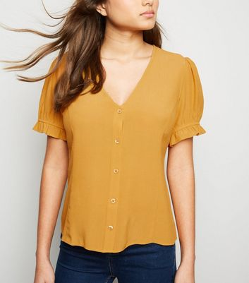 Mustard Button Front Puff Sleeve Top
