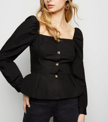 Black Square Neck Button Up Peplum Top