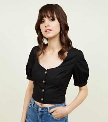 Black Square Neck Button Front Crop Top