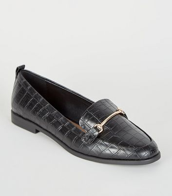 Black Faux Croc Pointed Loafers