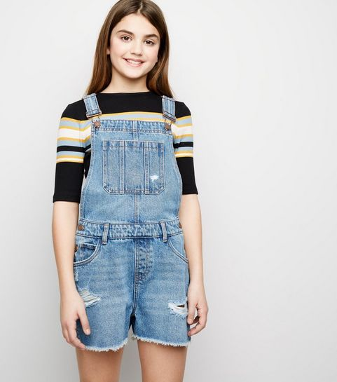 8384781c1858 ... Girls Pale Blue Denim Short Dungarees ...