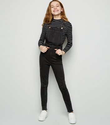 Girls Black Ripped Denim Dungarees