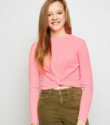 Girls Pink Neon Twist Hem Fine Knit Top