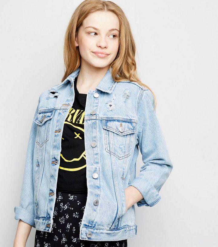 474e34cd6f56c Girls Blue Ripped Oversized Denim Jacket | New Look