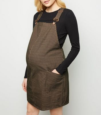 Maternity Brown Houndstooth Check Pinafore Dress