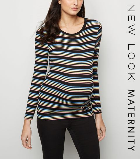 32be3594fcc ... Maternity Black Stripe Ribbed Long Sleeve Top ...
