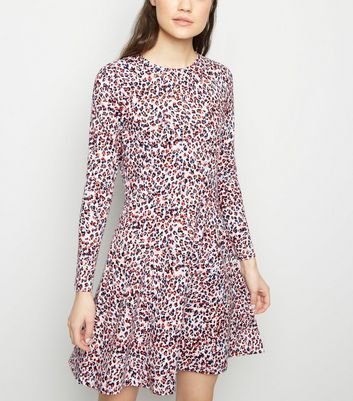 Red Animal Print Soft Touch Long Sleeve Dress