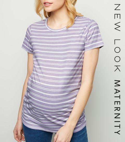 f8a924ee3d0 ... Maternity Purple Stripe Short Sleeve T-Shirt ...