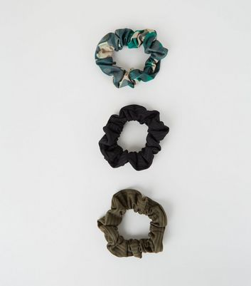 3 Pack Green Camo Ribbed Scrunchies