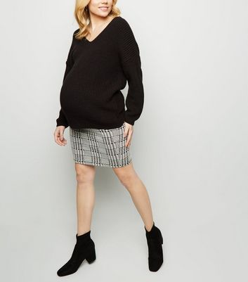 Maternity Black Check Tube Skirt