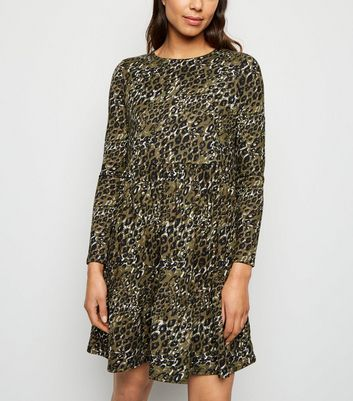 Green Leopard Print Soft Touch Smock Dress