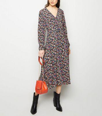 Floral Manches Robe Portefeuille Et Vif À Longue Noire Mi Imprimé gUWHzcU6F