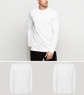 2 Pack White Long Sleeve T-Shirts