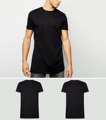 2 Pack Black Longline T-Shirts