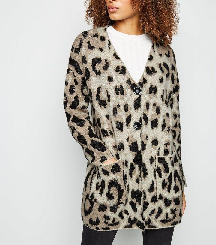 322c2b6a9f53 Brown Leopard Print Brushed Knit Cardigan   New Look
