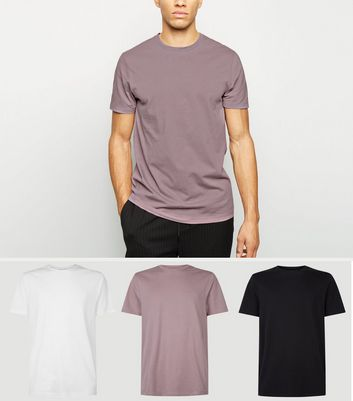 3 Pack Light Purple Black and White Crew Neck T-Shirts