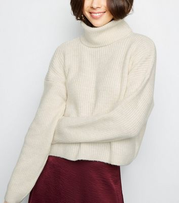 Cream Roll Neck Boxy Jumper