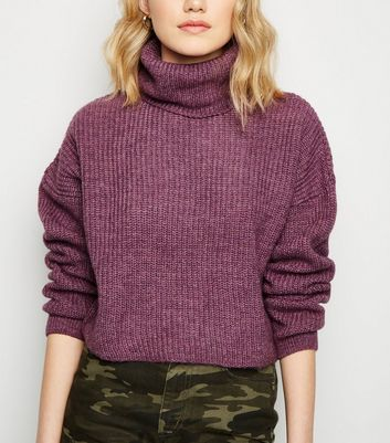 Light Purple Roll Neck Boxy Jumper