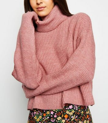 Mid Pink Roll Neck Boxy Jumper