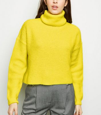 Yellow Neon Roll Neck Boxy Jumper