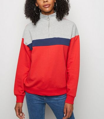 Red Colour Block Half Zip Sweatshirt