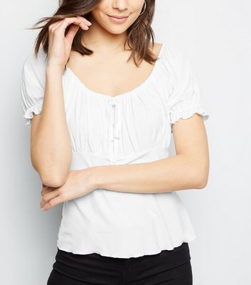 Off White Puff Sleeve Milkmaid Top