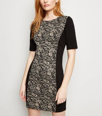 Apricot Black Floral Jacquard Panelled Bodycon Dress