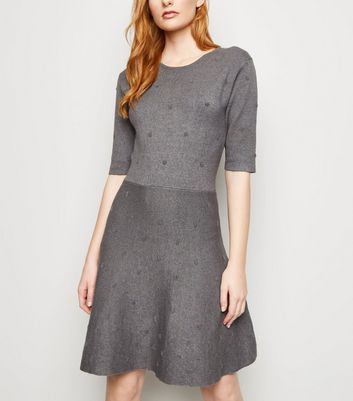 Apricot Grey Bobble Knit Skater Dress