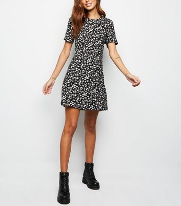 Black Ditsy Floral Lattice Back Soft Touch Dress