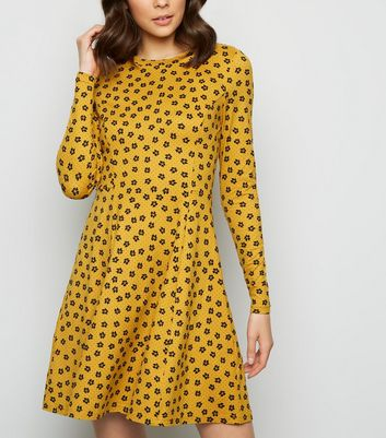 Mustard Ditsy Floral Soft Touch Skater Dress