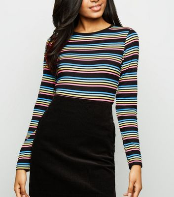 Petite Black Multi Stripe Long Sleeve T-Shirt