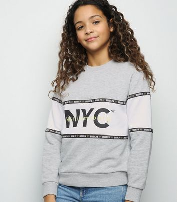 Girls Grey NYC Slogan Colour Block Neon Sweatshirt