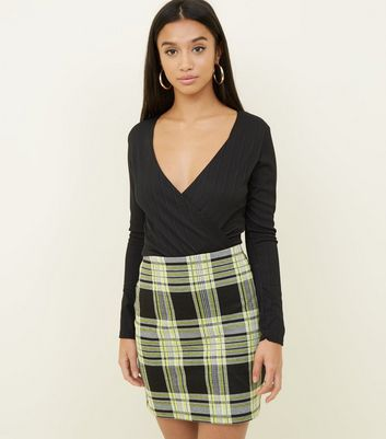 Petite Yellow Neon Check Tube Skirt