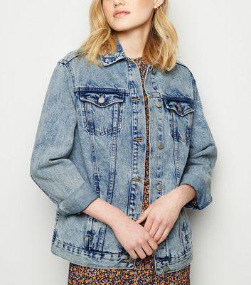 Blue Acid Wash Oversized Denim Jacket by New Look