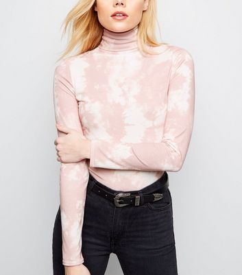 Pink Tie Dye Roll Neck Top