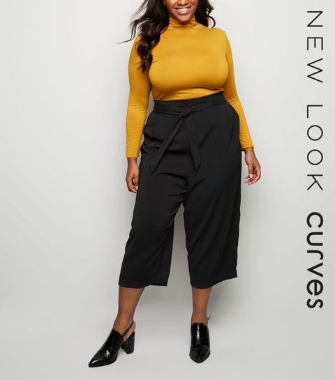 7030f7709d8 ... Curves Black Tie Waist Culottes ...