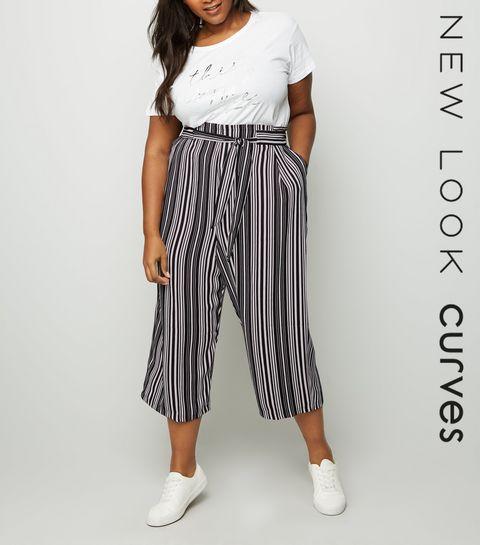 a416987948a ... Curves Black Stripe Tie Waist Culottes ...
