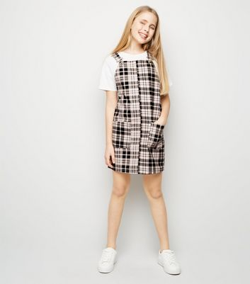 Girls Pink Check Denim Pinafore Dress
