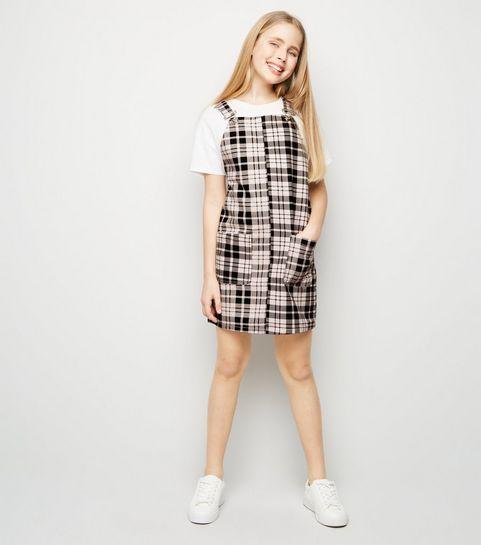 d4d8af11c2 ... Girls Pink Check Denim Pinafore Dress ...