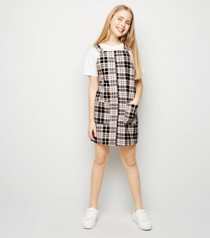 f9550bba63cb Girls Pink Check Denim Pinafore Dress | New Look