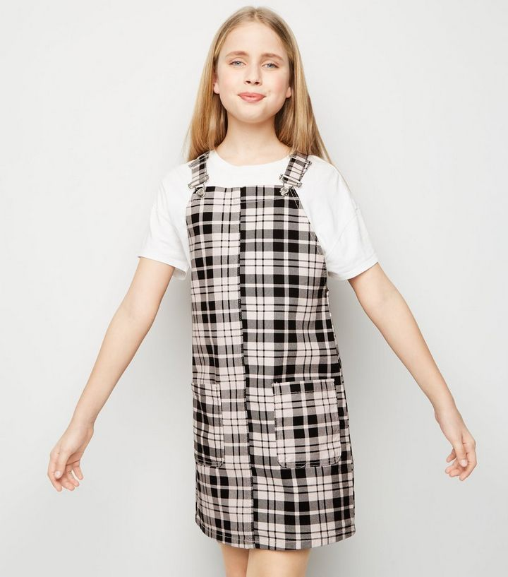 d794ef53d1 Girls Pink Check Denim Pinafore Dress