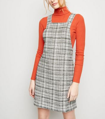 Khaki Textured Check Pinafore Dress by New Look