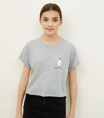 Girls Grey Egg Slogan T-Shirt