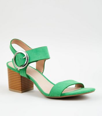 Green Comfort Flex Ring Buckle Block Heel